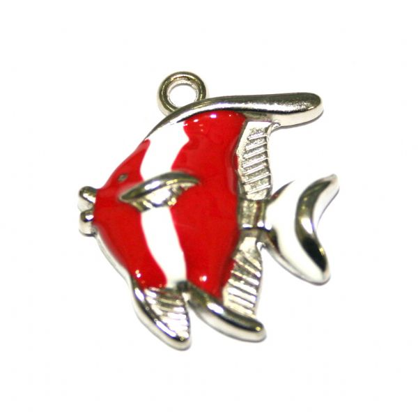 1 x 25*21mm rhodium plated red / white colour fish enamel charm - SD03 - CHE1275